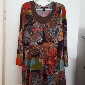 Multi color light weight sweater tunic dress